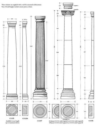 Columns drawing and sizes