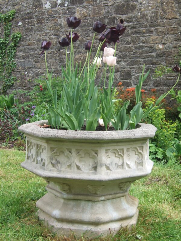 Octagonal gothic jardiniere, Simonstown Architectural & Garden Ornaments agents for Chilstone