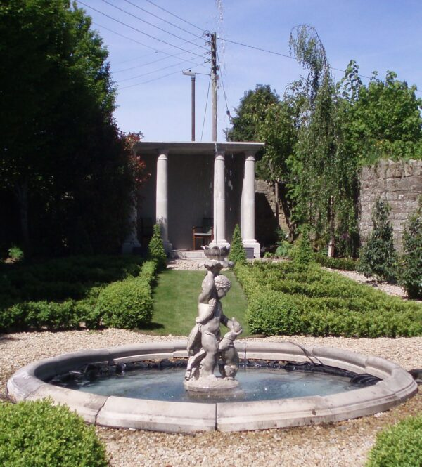 Child with Dog fountain in Co Cavan, Simonstown architectural & garden ornaments chilstone agent