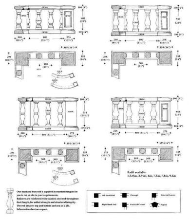 Balustrading Piers drawing and sizes