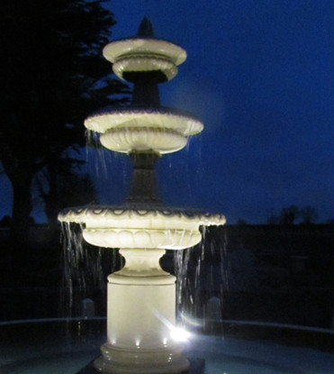 Tonbridge Fountain at night in Kildare, Simonstown architectural & garden ornaments chilstone agent