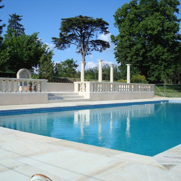 Balustrading creating a terrace area around a pool in France, Simonstown architectural & garden ornaments