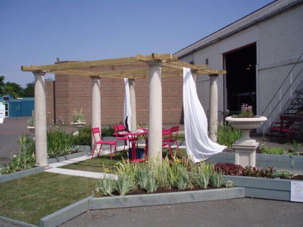 Doric columns create a pergola at a Garden Show