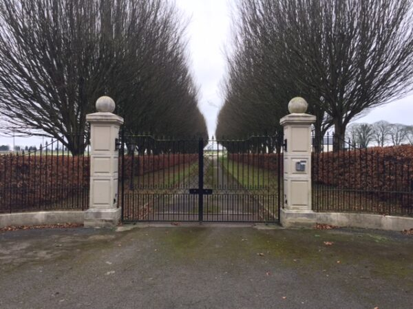 Gate piers create an impressive entrance to a Stud in Kildare