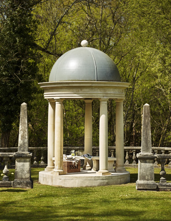 Doric temple with 5 Doric Columns, patterned floor, lead lookalike fibreglass domed roof