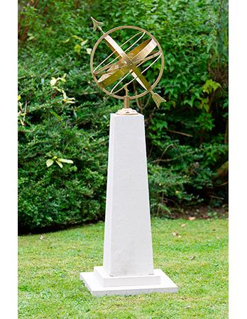 Armillary sphere on Obelisk needle pedestal