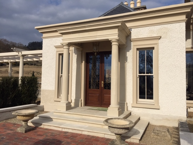 Portico with steps and landing