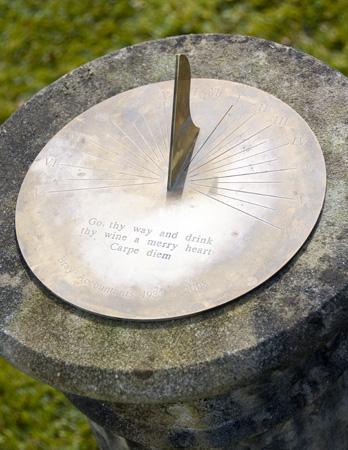 Engraved brass sundial plate