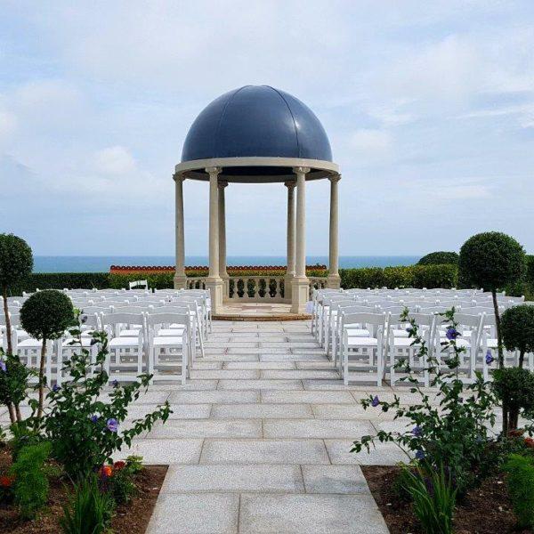 Wedding Temple with 6 Ionic columns, patterned floor, balustrading, lead lookalike fibreglass roof